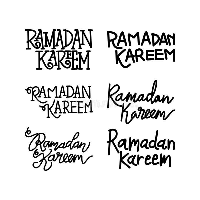Ramadan Kareem Text Handwritten Set Template-Vector vector illustratie