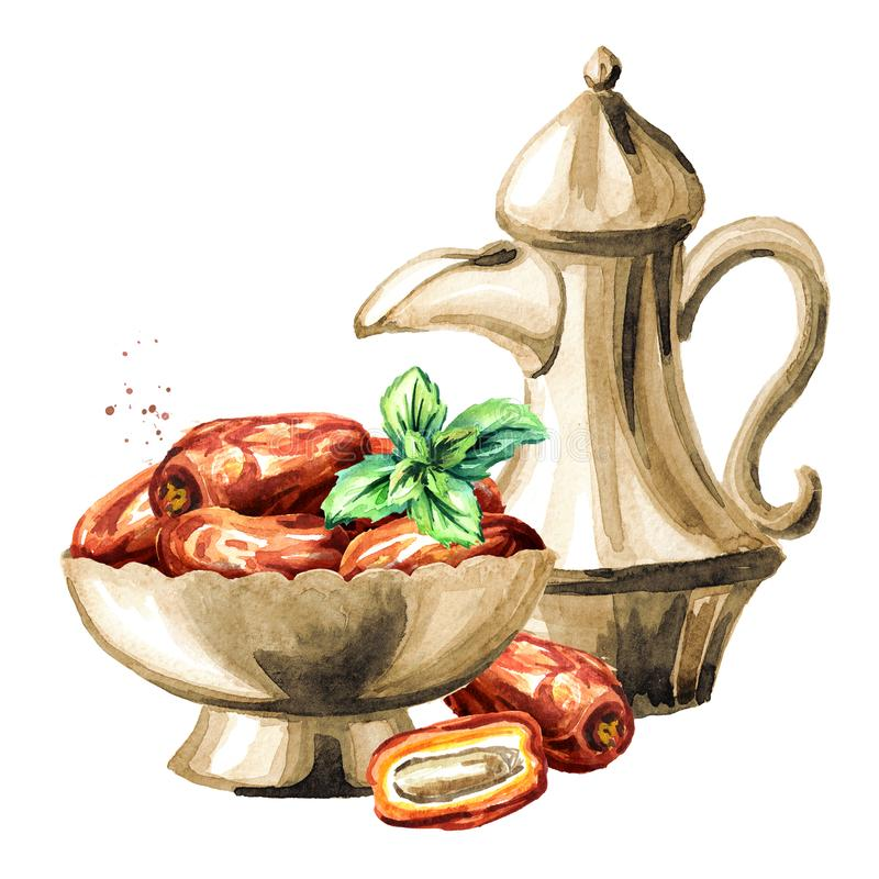 Ramadan Kareem. Traditional teapot with Dried Date fruits in the bowl. Watercolor hand drawn illustration, isolated on white stock illustration