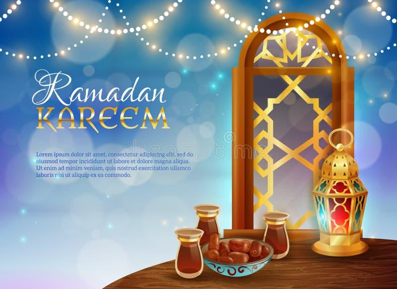 Ramadan Kareem Tradycyjny Świąteczny Karmowy plakat royalty ilustracja