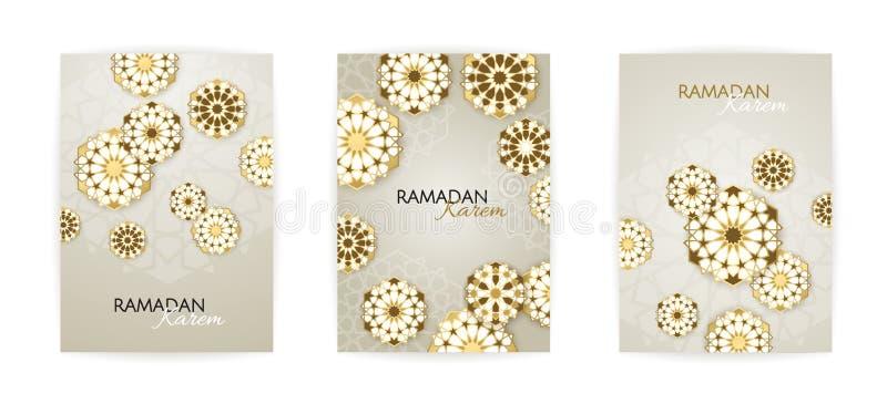 Ramadan Kareem uppsättning av affischer eller inbjudandesignen också vektor för coreldrawillustration vektor illustrationer