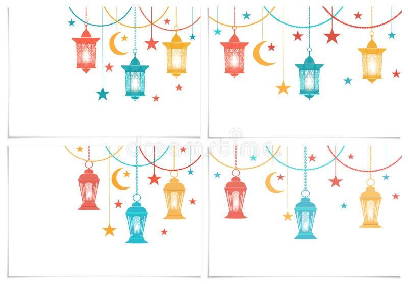 ramadan kareem Uppsättning Färglyktor i den orientaliska stilen hänger på kedjor stjärna halvmånformig bakgrund isolerad white royaltyfri illustrationer
