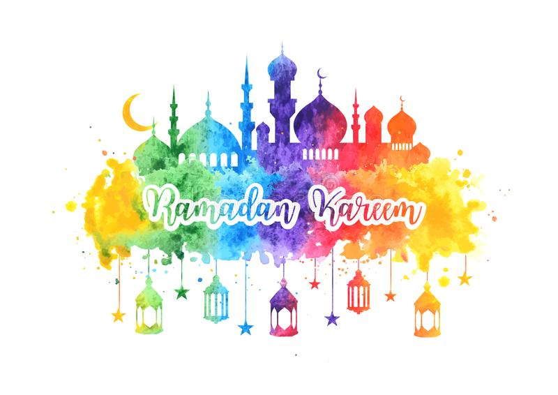 Ramadan Kareem vattenfärgbakgrund, hälsningkort med moskén, arabiska lampor, stjärnor och halvmånformig Baner för vektor illustrationer