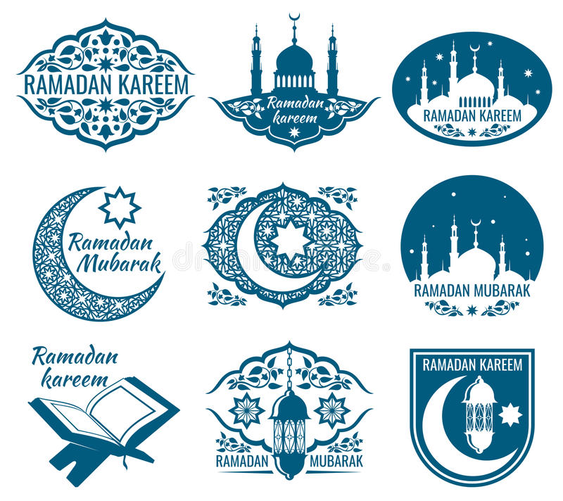 Ramadan kareem vector labels. Vintage badges with arabian islamic calligraphy stock illustration