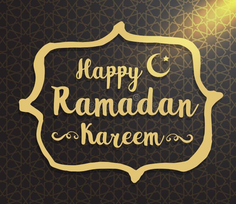 Ramadan Kareem Vector typografisch die ontwerp met kalligrafie wordt geplaatst stock illustratie