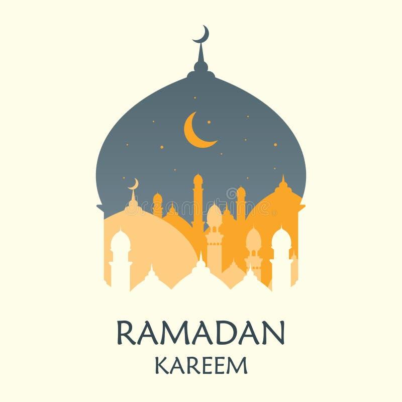 Ramadan Kareem vektorillustration Rena eleganta Ramadan Greeting med moskékupoldesign pappers- konststil vektor illustrationer