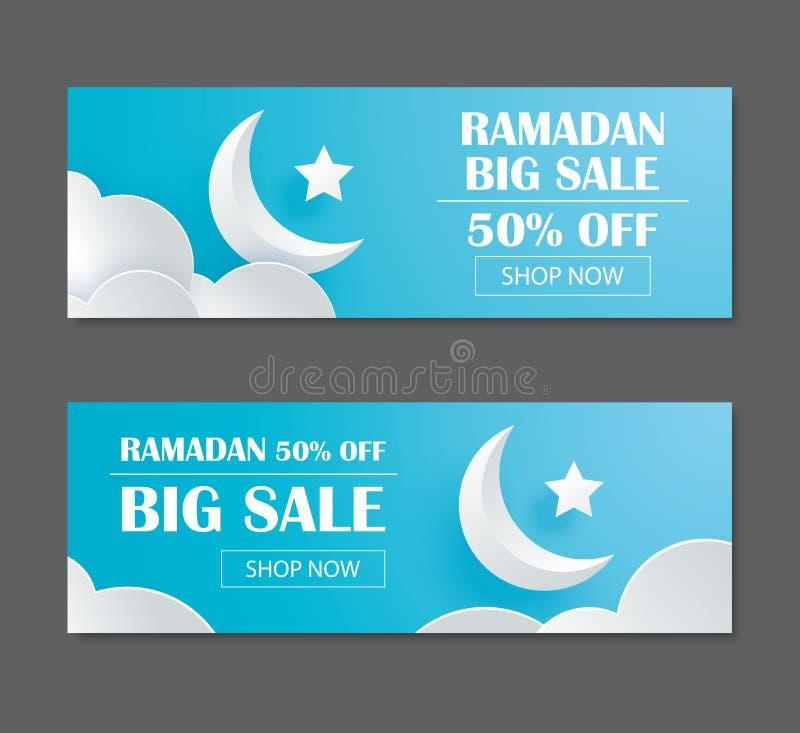 Ramadan Kareem-Verkaufsfahnendesign mit sichelförmiger Mondpapierkunst b vektor abbildung