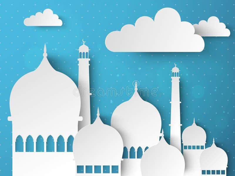 Ramadan Kareem-viering met document Moskee royalty-vrije illustratie
