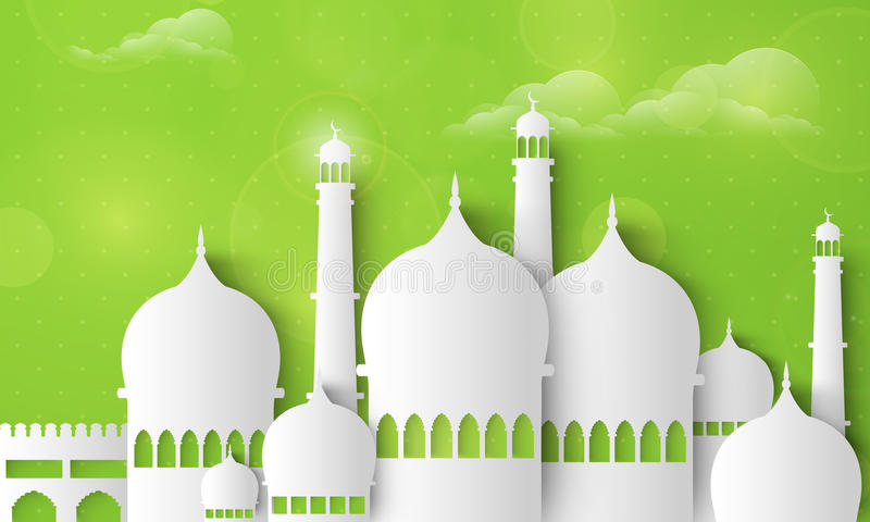 Ramadan Kareem-viering met glanzende Moskee