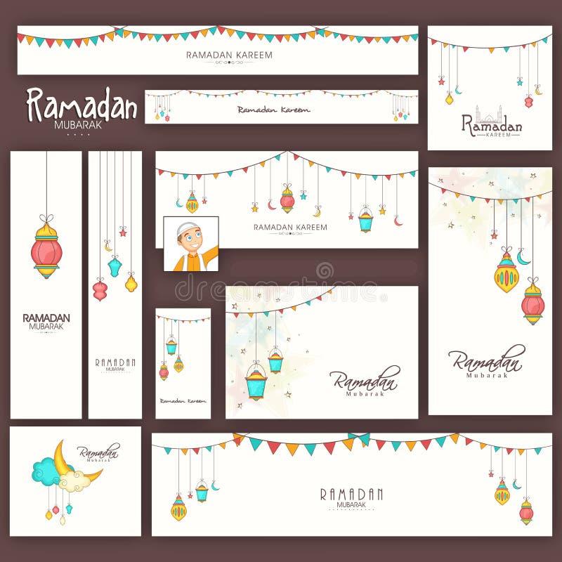 Ramadan Kareem-vierings sociale media posten en kopballen royalty-vrije illustratie