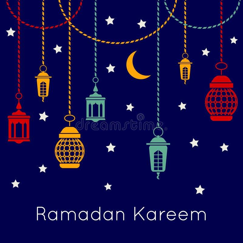 Ramadan Kareem-vierings vectorachtergrond met Arabische lantaarns Islamitisch festivalconcept