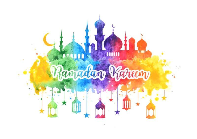 Ramadan Kareem-waterverfachtergrond, groetkaart met moskee, Arabische lampen, sterren en halve maan Banner voor vector illustratie