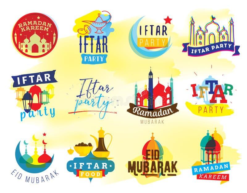 Ramadan kareem wektorowa grafika Iftar przyjęcie royalty ilustracja