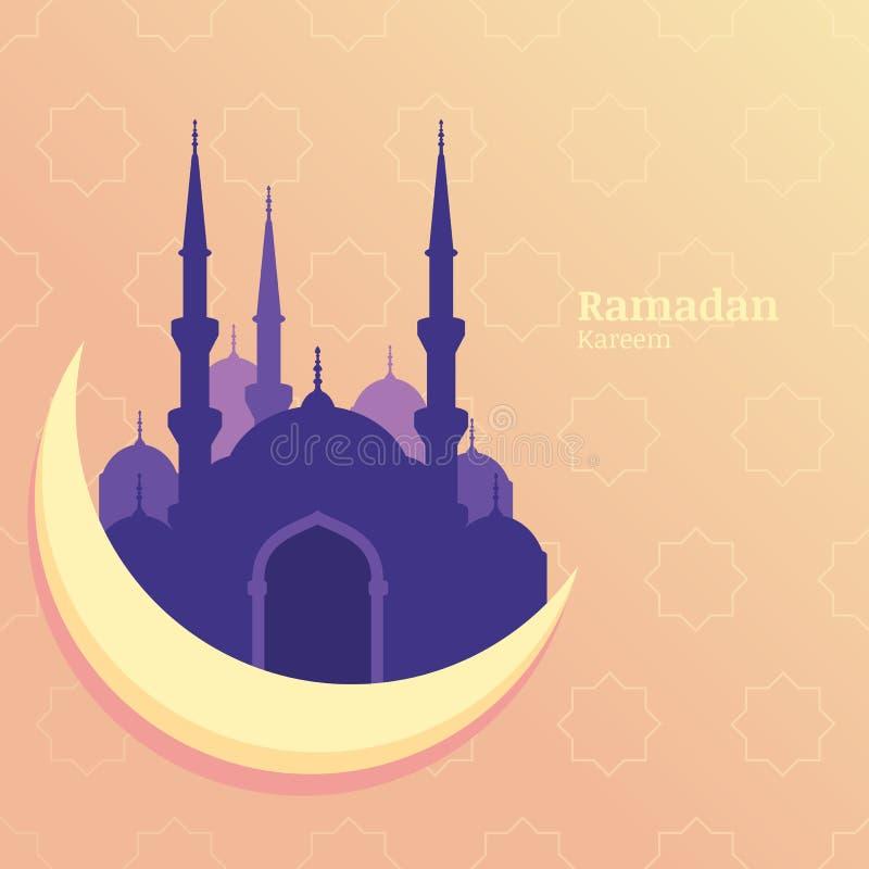 Ramadan Kareem wektorowy kartka z pozdrowieniami, sylwetka purpurowy meczet royalty ilustracja