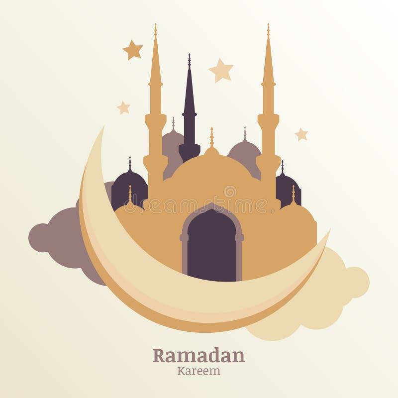 Ramadan Kareem wektorowy kartka z pozdrowieniami, sylwetka złoty meczet ilustracja wektor