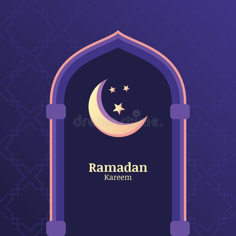 Ramadan Kareem wektorowy tło z nocnym niebem, księżyc, gra główna rolę wewnątrz royalty ilustracja