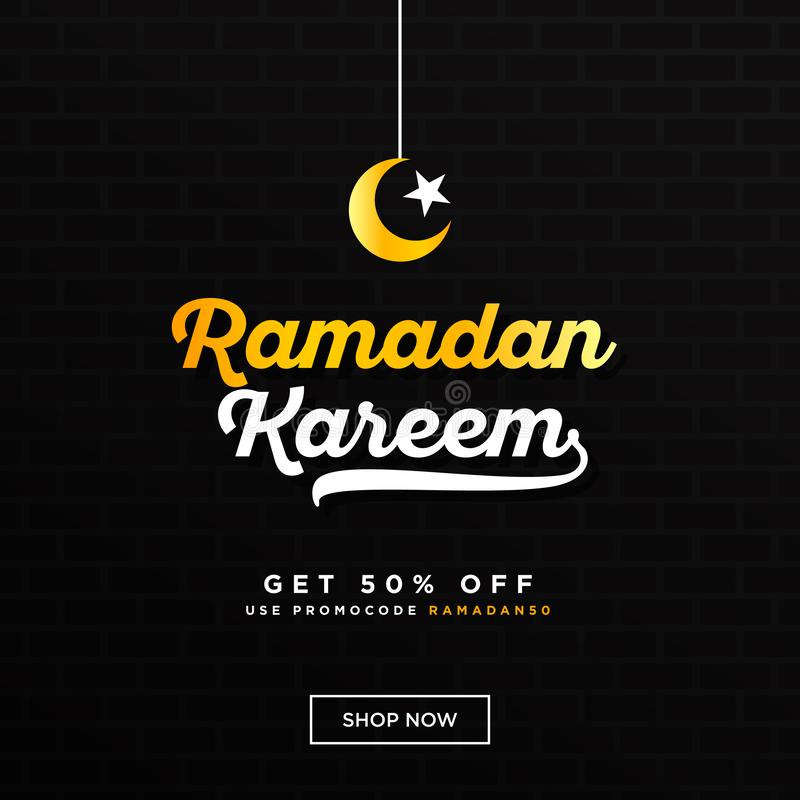 Ramadan Kareem with yellow white lettering and crescent moon star and lantern against dark wall background with a yellow light. stock illustration
