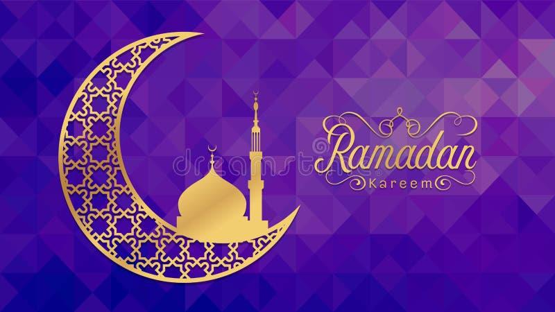 Ramadan kareem - Złocista arabska księżyc i meczet na niskiego poli- purpurowego tła wektorowym projekcie royalty ilustracja