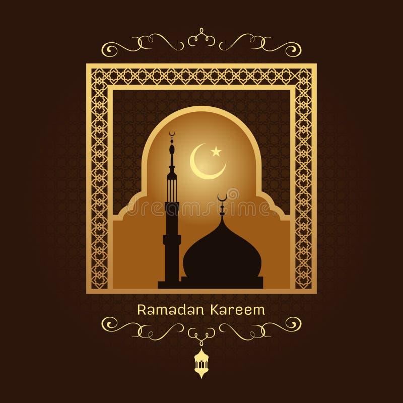Ramadan kareem - Złocista arabska nadokienna sztuka i masjid przy nocą na brown tła wektorowym projekcie ilustracji