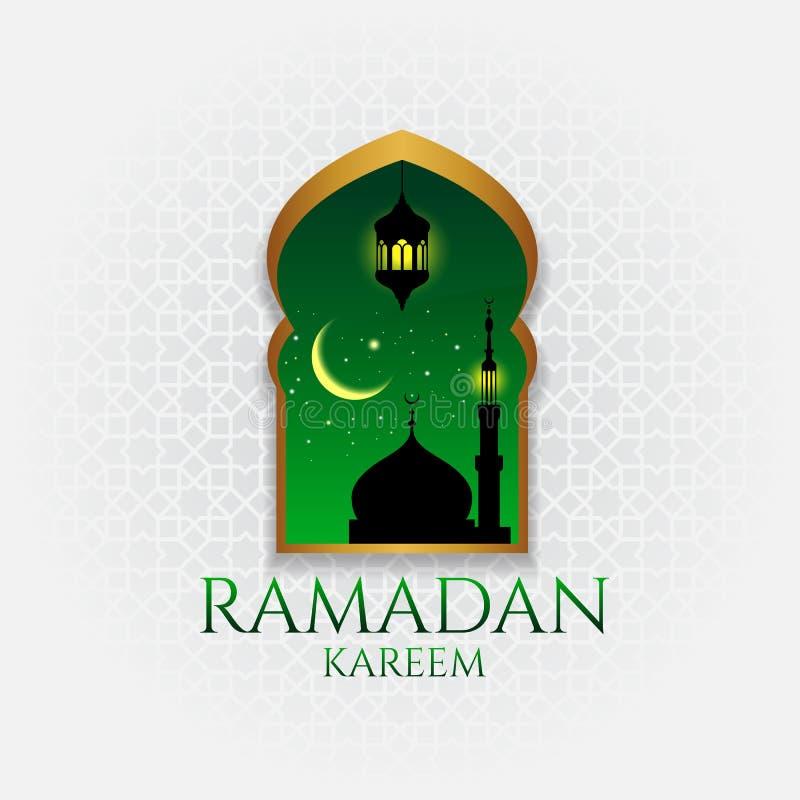 Ramadan kareem - złocisty drzwi i obwieszenie przy nocą royalty ilustracja