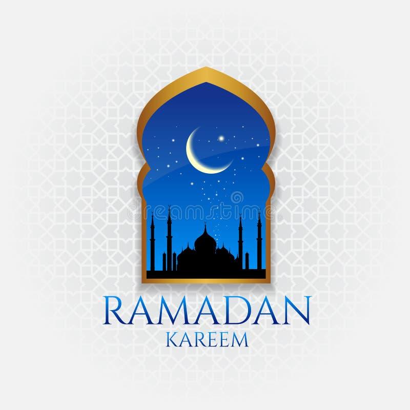 Ramadan kareem - złocisty drzwi, księżyc i gwiazda przy noc wektorowym projektem ilustracji