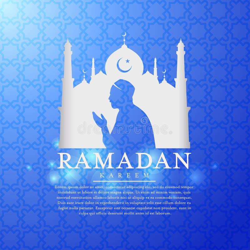 Ramadan kareem z białymi meczet sylwetkami i muzułmańskiego mężczyzna modlenia wektorowym projektem royalty ilustracja