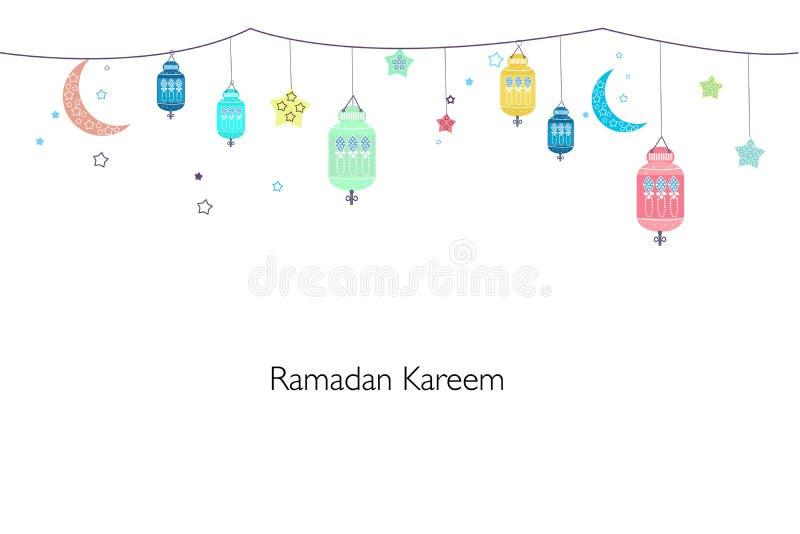Ramadan Kareem z kolorowymi lampami, półksiężyc i gwiazdami, Tradycyjny czarny lampion Ramadan tło royalty ilustracja