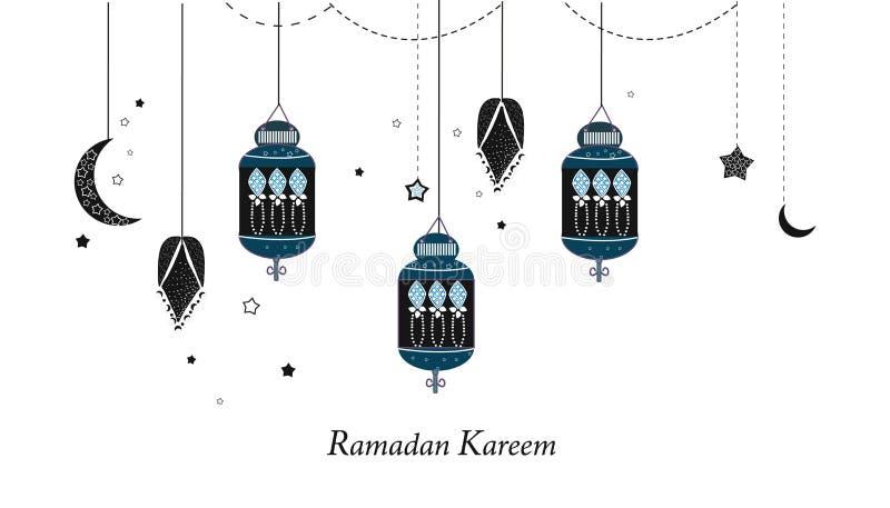 Ramadan Kareem z lampami, półksiężyc i gwiazdami, Tradycyjny czarny lampion Ramadan tło royalty ilustracja