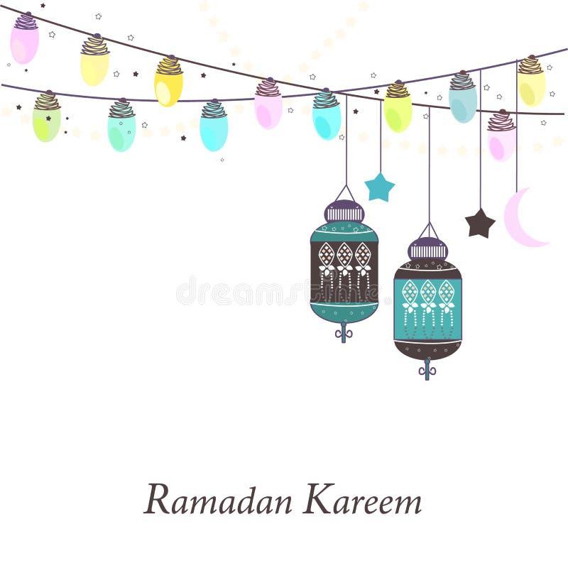 Ramadan Kareem z lampami, półksiężyc i gwiazdami, Tradycyjny lampion Ramadan wektor royalty ilustracja