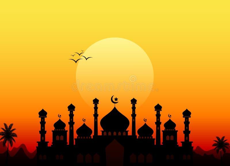 Ramadan kareem z sylwetka meczetem