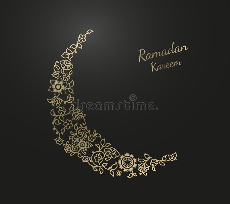 Ramadan Kareem z złotą księżyc tworzył kwiatu wzoru illust ilustracja wektor