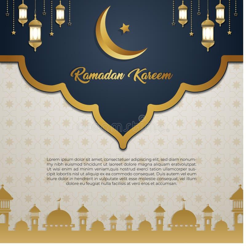 Ramadan Kareem zaproszenia karty luksusowy złocisty wyłączny tło ilustracji