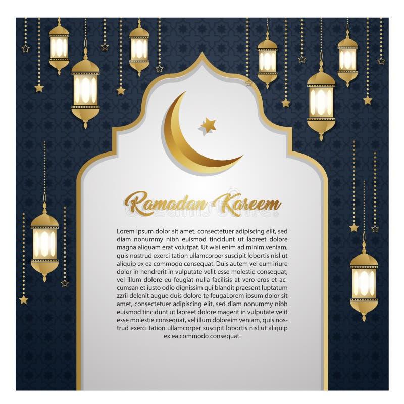 Ramadan Kareem zaproszenia karty luksusowy z?ocisty wy??czny t?o royalty ilustracja