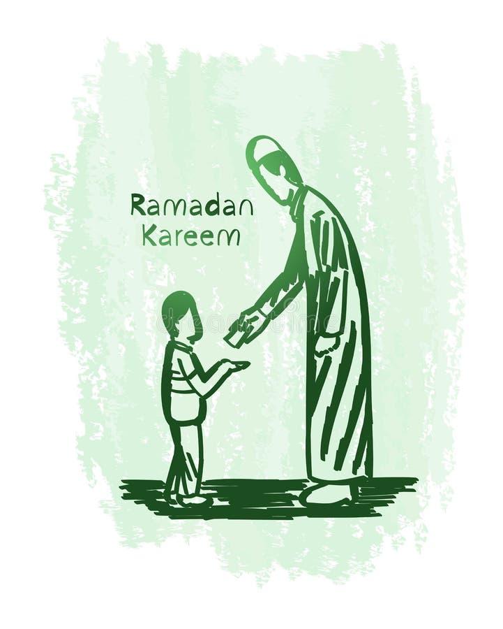 Ramadan kareem zielonej liny sztuka z grunge tłem, daruje biedni dzieci zdjęcia stock