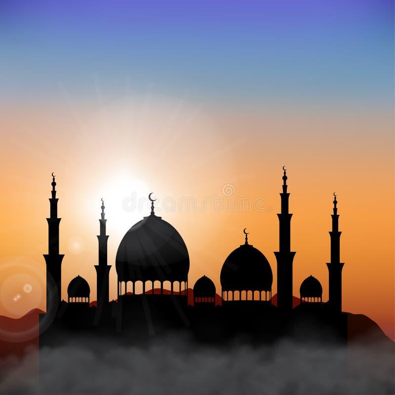 Ramadan Kareem zmierzchu meczetu tło ilustracji