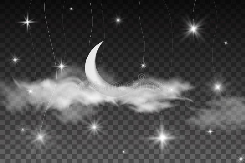 Ramadan kartka z pozdrowieniami z półksiężyc Ramadan Kareem islamskiego projekta półksiężyc księżyc na gwiaździstym tle z chmuram ilustracja wektor