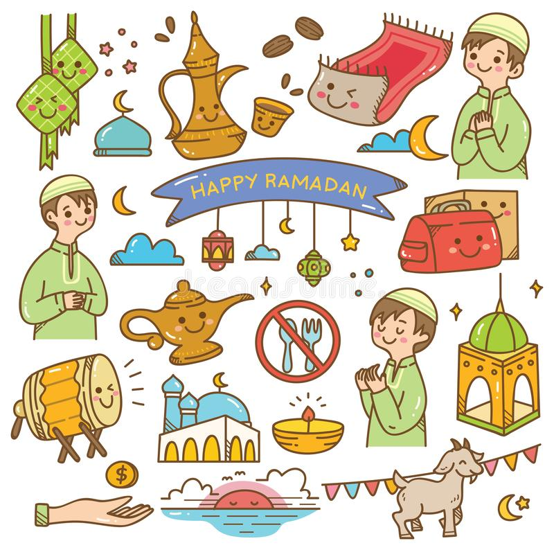 Ramadan kawaii doodles royalty ilustracja