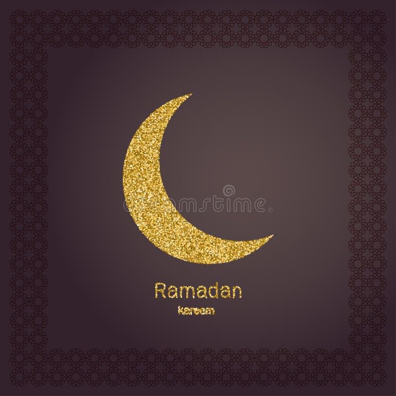 Ramadan Kerim guld blänker månen Malldesign för hälsningkortet, baner, affisch, inbjudan royaltyfri illustrationer