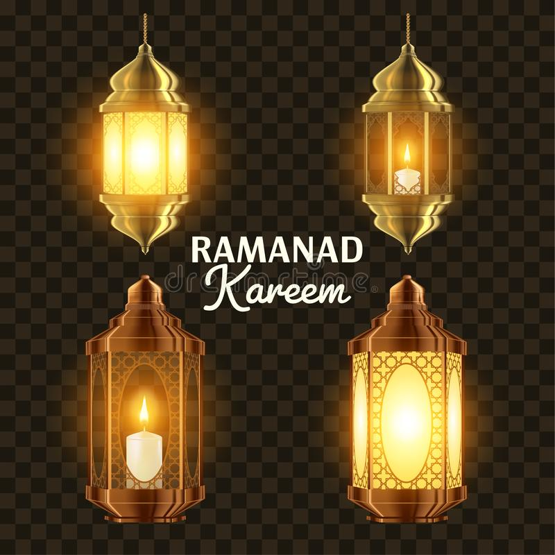 Ramadan Lamp Set Vector islam Kareem Lamp progettazione della lanterna Mubarak Night Ramazan Greeting Design Fanous musulmano illustrazione vettoriale
