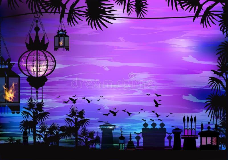 ramadan Lampion na drzewie Światło w nocnym niebie royalty ilustracja