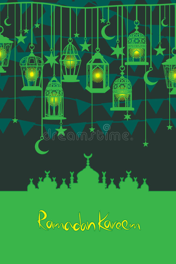 Ramadan lantern flag hang vertical card royalty free illustration