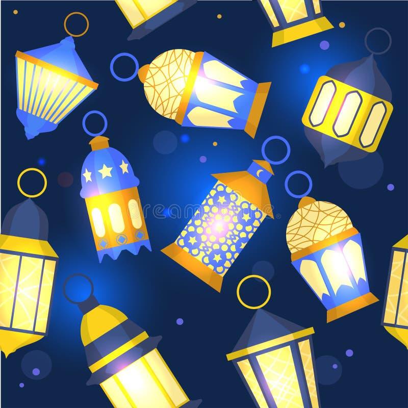 Ramadan Lanterns Background Pattern Vetor ilustração stock
