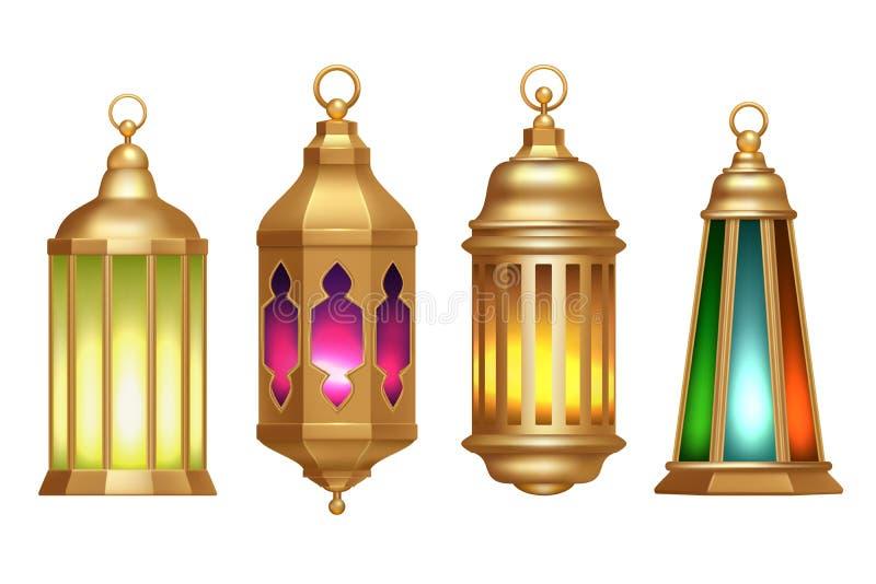 Ramadan Lanterns Muslimska islamiska illustrationer för vektor för tappninglampor 3d realistiska vektor illustrationer