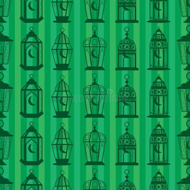 Ramadan latarniowego sihouette pionowo bezszwowy wzór ilustracji