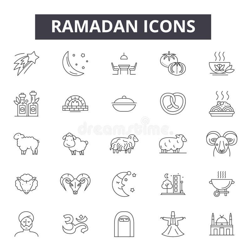 Ramadan-Linie Ikonen, Zeichen, Vektorsatz, Entwurfsillustrationskonzept lizenzfreie abbildung