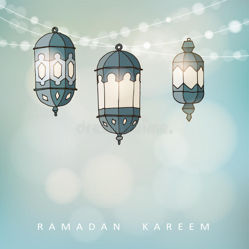 Ramadan lluminated les lanternes arabes avec de la ficelle des lumières illustration stock