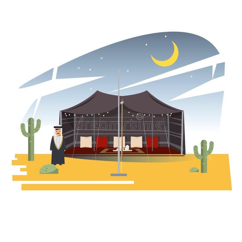 Ramadan Majlis Tents Arabische tent in dessert met Arabisch mensenklusje stock illustratie