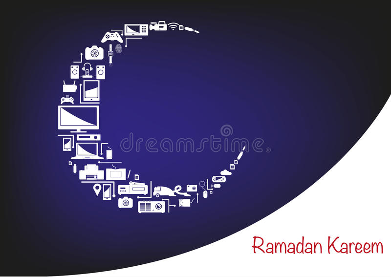 Ramadan Moon a fait des appareils électroniques pour des promotions des ventes illustration stock