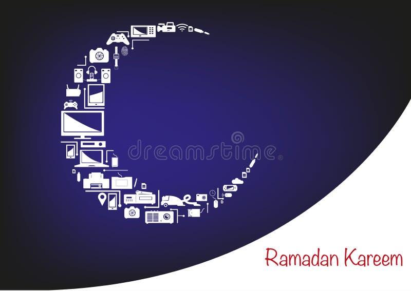 Ramadan Moon fez de dispositivos eletrônicos para promoções de venda ilustração stock