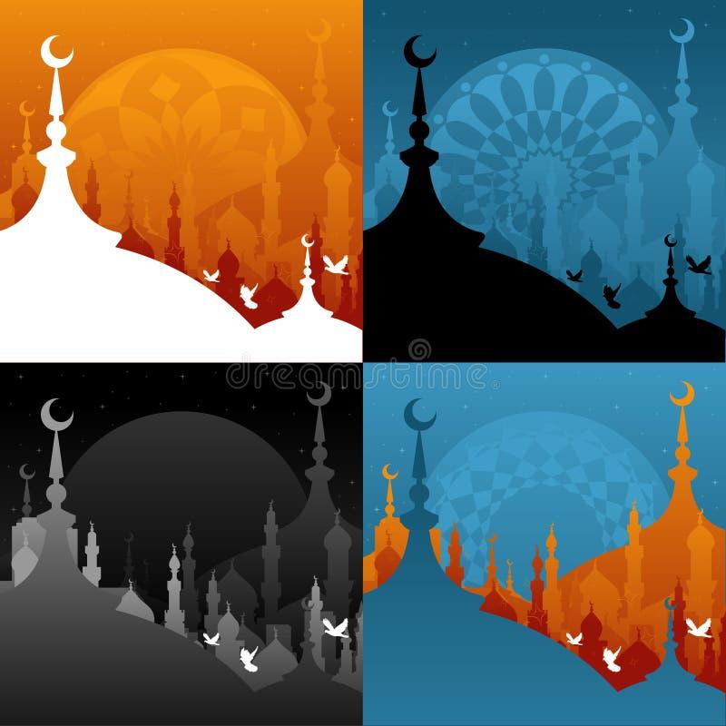 ramadan moské vektor illustrationer