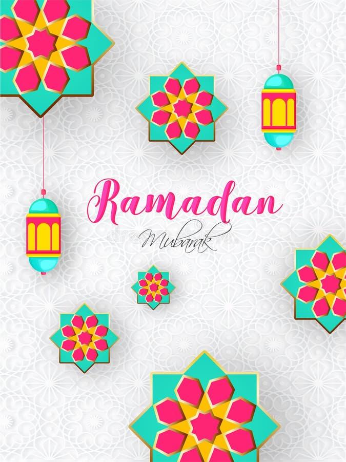 Ramadan Mubarak świętowania szablonu projekt z papieru rżniętym kwiecistym projektem i lampiony dekorowaliśmy na islamskim wzorze royalty ilustracja